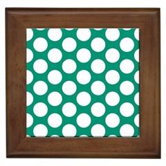 Emerald Green Polkadot Framed Ceramic Tile
