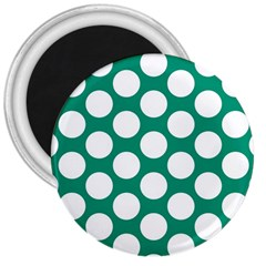 Emerald Green Polkadot 3  Button Magnet