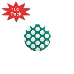 Emerald Green Polkadot 1  Mini Button Magnet (100 pack)