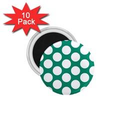 Emerald Green Polkadot 1.75  Button Magnet (10 pack)