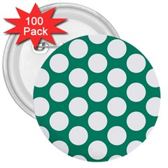 Emerald Green Polkadot 3  Button (100 pack)