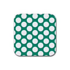 Emerald Green Polkadot Drink Coasters 4 Pack (Square)