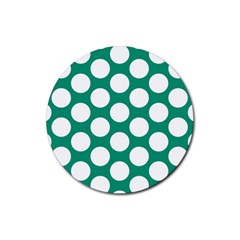 Emerald Green Polkadot Drink Coasters 4 Pack (Round)