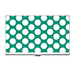 Emerald Green Polkadot Business Card Holder
