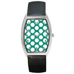 Emerald Green Polkadot Tonneau Leather Watch