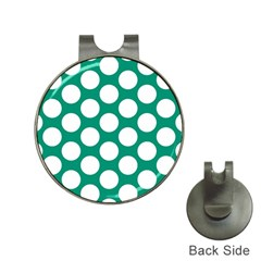 Emerald Green Polkadot Hat Clip With Golf Ball Marker