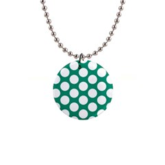 Emerald Green Polkadot Button Necklace