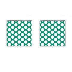 Emerald Green Polkadot Cufflinks (Square)