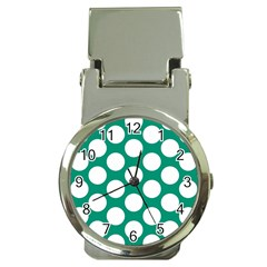 Emerald Green Polkadot Money Clip with Watch