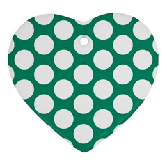 Emerald Green Polkadot Heart Ornament (Two Sides)