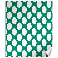 Emerald Green Polkadot Canvas 8  x 10  (Unframed)