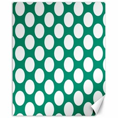 Emerald Green Polkadot Canvas 16  x 20  (Unframed)