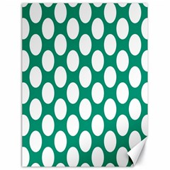 Emerald Green Polkadot Canvas 18  x 24  (Unframed)