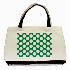 Emerald Green Polkadot Twin-sided Black Tote Bag