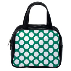 Emerald Green Polkadot Classic Handbag (One Side)