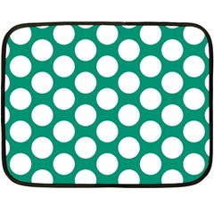 Emerald Green Polkadot Mini Fleece Blanket (Two Sided)