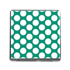 Emerald Green Polkadot Memory Card Reader with Storage (Square)