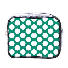 Emerald Green Polkadot Mini Travel Toiletry Bag (one Side)