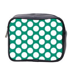 Emerald Green Polkadot Mini Travel Toiletry Bag (Two Sides)