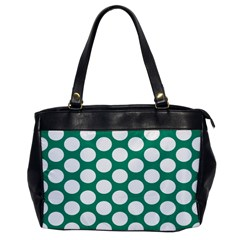 Emerald Green Polkadot Oversize Office Handbag (One Side)