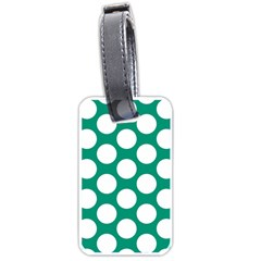 Emerald Green Polkadot Luggage Tag (Two Sides)