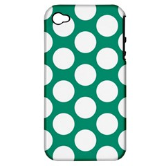 Emerald Green Polkadot Apple Iphone 4/4s Hardshell Case (pc+silicone)