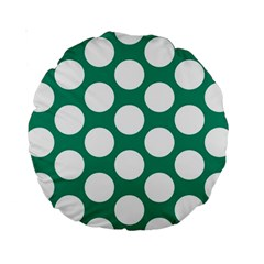 Emerald Green Polkadot 15  Premium Round Cushion