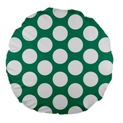 Emerald Green Polkadot 18  Premium Round Cushion