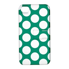 Emerald Green Polkadot Apple iPhone 4/4S Hardshell Case with Stand