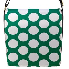 Emerald Green Polkadot Flap Closure Messenger Bag (Small)