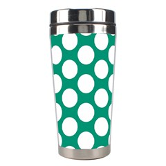Emerald Green Polkadot Stainless Steel Travel Tumbler