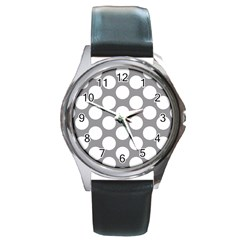 Grey Polkadot Round Leather Watch (silver Rim)