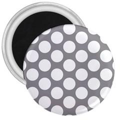 Grey Polkadot 3  Button Magnet