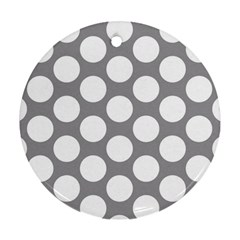 Grey Polkadot Round Ornament