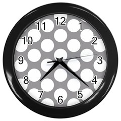 Grey Polkadot Wall Clock (Black)