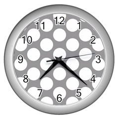 Grey Polkadot Wall Clock (Silver)