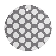 Grey Polkadot Round Ornament (two Sides)
