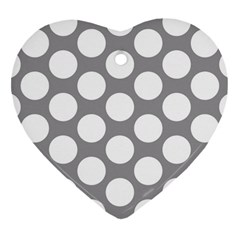 Grey Polkadot Heart Ornament (two Sides)