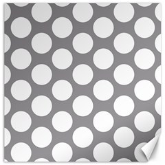 Grey Polkadot Canvas 16  x 16  (Unframed)