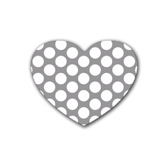 Grey Polkadot Drink Coasters 4 Pack (Heart)