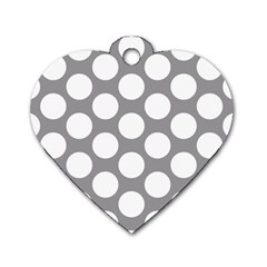 Grey Polkadot Dog Tag Heart (one Sided)