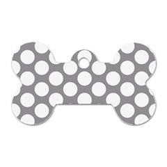 Grey Polkadot Dog Tag Bone (Two Sided)