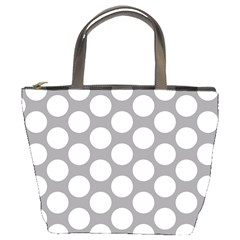 Grey Polkadot Bucket Handbag