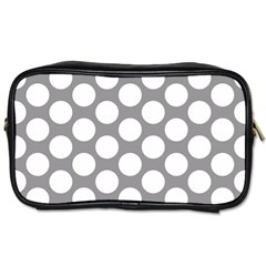Grey Polkadot Travel Toiletry Bag (One Side)