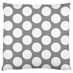 Grey Polkadot Large Cushion Case (Two Sided)