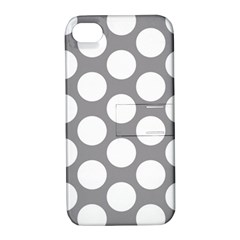 Grey Polkadot Apple iPhone 4/4S Hardshell Case with Stand