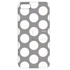 Grey Polkadot Apple iPhone 5 Hardshell Case with Stand