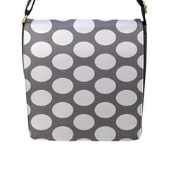 Grey Polkadot Flap Closure Messenger Bag (large)