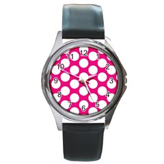 Pink Polkadot Round Leather Watch (Silver Rim)