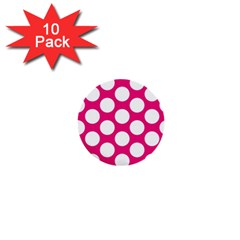Pink Polkadot 1  Mini Button (10 pack)